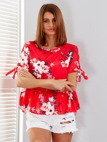 Czerwona bluzka floral print z falbaną