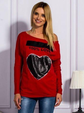 Czerwona bluzka z cekinowym sercem