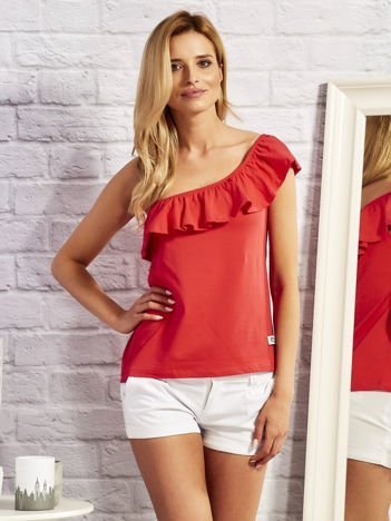 Czerwona bluzka z hiszpańskim dekoltem