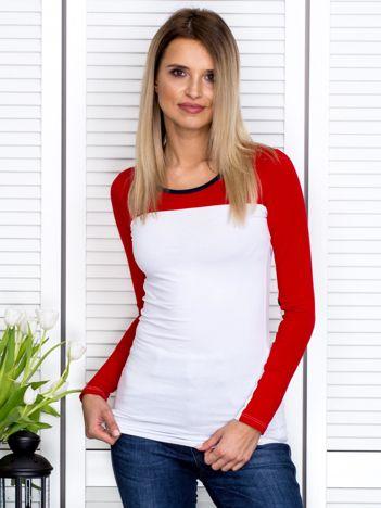 Czerwona bluzka z kontrastową górą