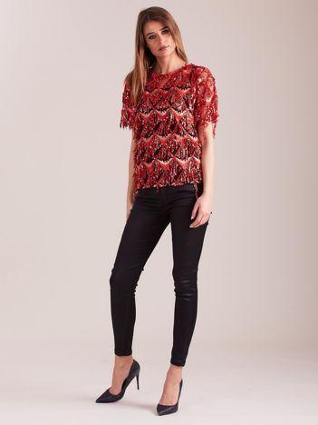 Czerwona cekinowa bluzka