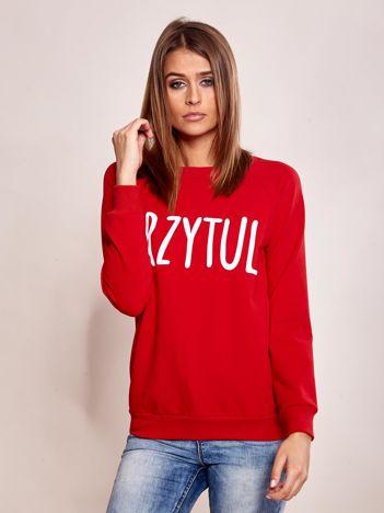 Czerwona dresowa bluza z napisem