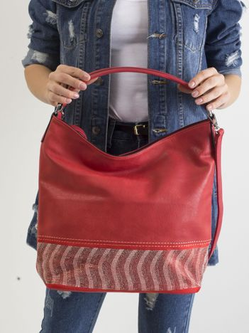 Czerwona duża torba ze skóry ekologicznej
