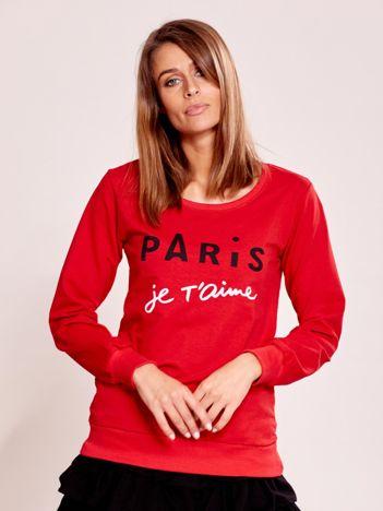 Czerwona lekka bluza damska z napisem PARIS JE T'AIME