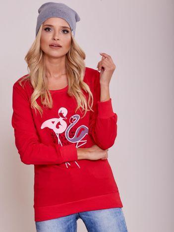 Czerwona lekka bluza z nadrukiem flamingów