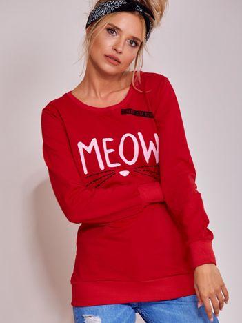 Czerwona lekka bluza z napisem MEOW