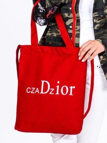 Czerwona materiałowa torba z nadrukiem CZADZIOR