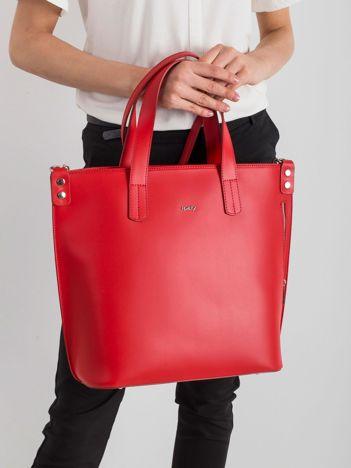 Czerwona skórzana torba damska