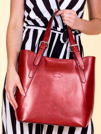 Czerwona skórzana torba shopper bag