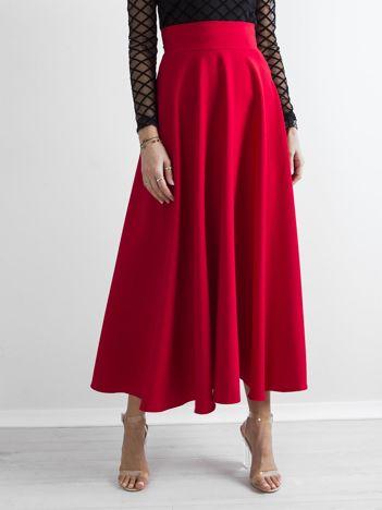Czerwona spódnica maxi w kontrafałdy