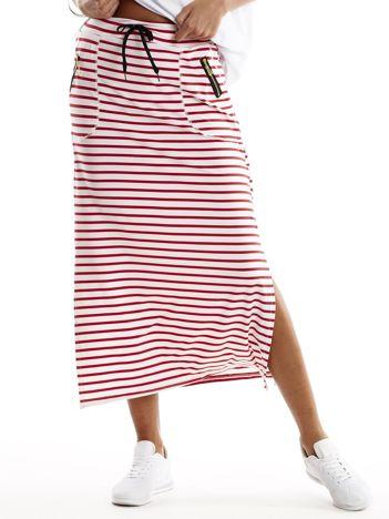 Czerwona spódnica w paski z suwakami