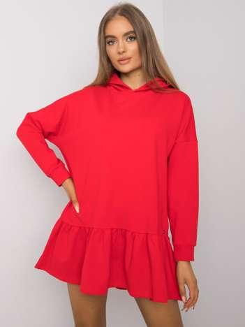 Czerwona sukienka dresowa z kapturem Aliye