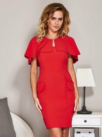 Czerwona sukienka koktajlowa z narzutką