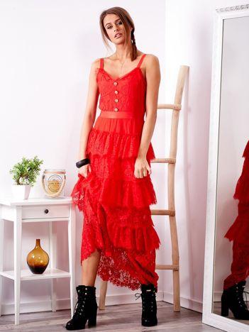 Czerwona sukienka z falbanami