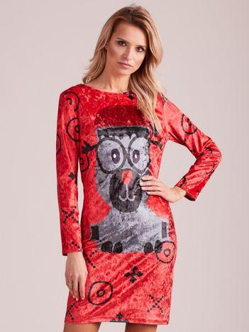 Czerwona świąteczna sukienka z reniferem