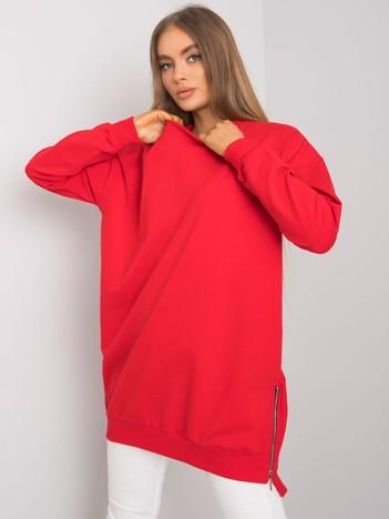 Czerwona tunika z długim rękawem Rhiannon