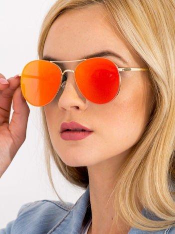 Czerwone LUSTRZANE Owalne Okulary przeciwsłoneczne