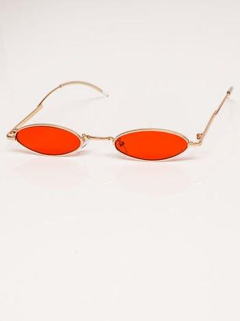 Czerwone Metalowe Podłużne Okulary Unisex