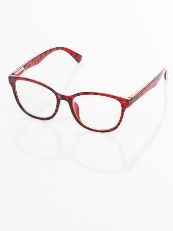 Czerwone Modne okulary zerówki pantera czerwona klasyczne - soczewki ANTYREFLEKS,system FLEX na zausznikach