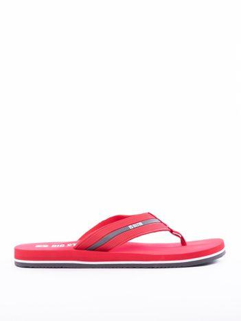 Czerwone męskie klapki BIG STAR z kolorową podeszwą