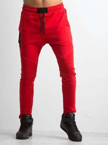 Czerwone męskie spodnie dresowe z przeszyciami