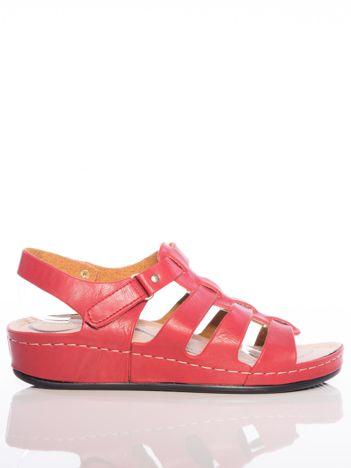 Czerwone sandały Sabatina na rzepy