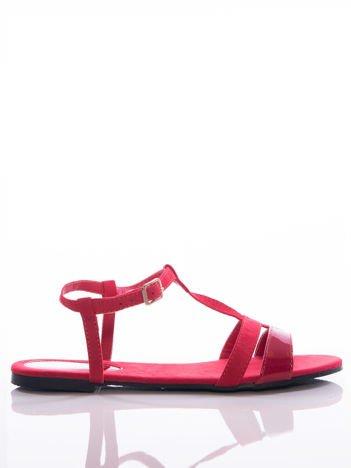 Czerwone sandały Sabatina z lakierowanym paskiem