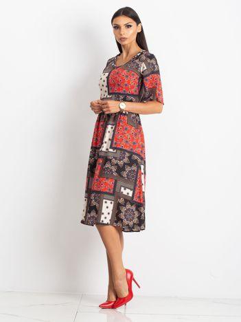 Czerwono-czarna sukienka Calm