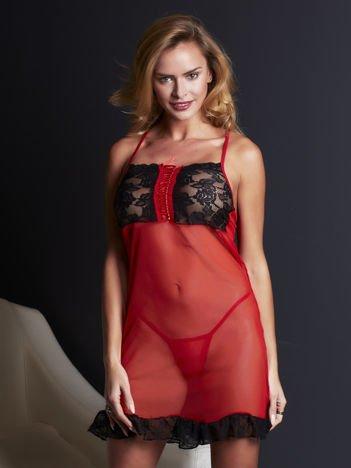 Czerwono-czarny komplet koszulka lace up i stringi