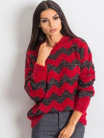 Czerwono-czarny sweter Geometric