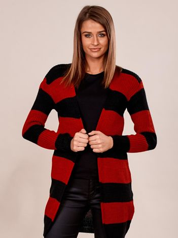 Czerwono-czarny sweter bez zapięcia