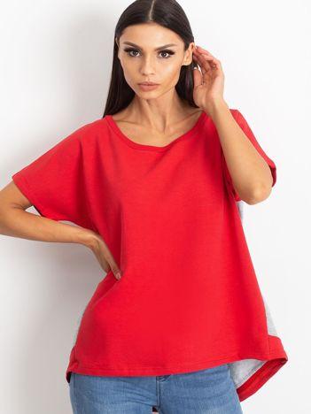Czerwono-szara bluzka oversize z falbanką