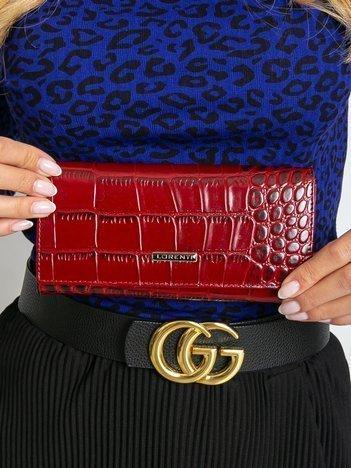 Czerwony duży damski portfel skórzany