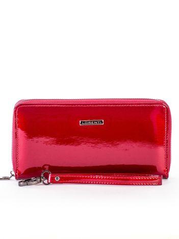 Czerwony lakierowany portfel skórzany z uchwytem