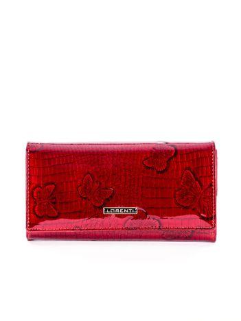 Czerwony lakierowany portfel ze skóry z motywem motyli