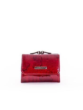 Czerwony portfel damski ze skóry w motyle