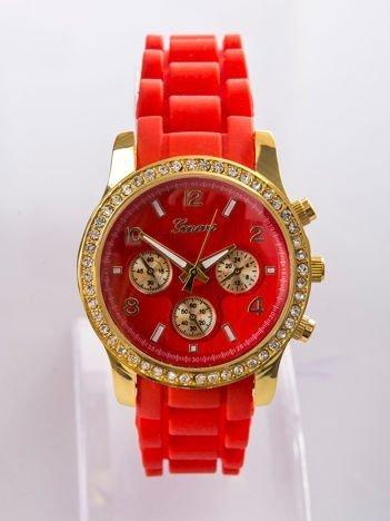 Czerwony silikonowy zegarek damski