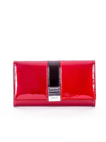 Czerwony skórzany lakierowany portfel