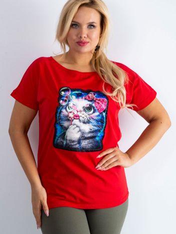 Czerwony t-shirt Adorable PLUS SIZE