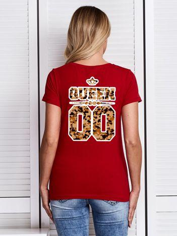 Czerwony t-shirt damski z moro nadrukiem QUEEN dla par