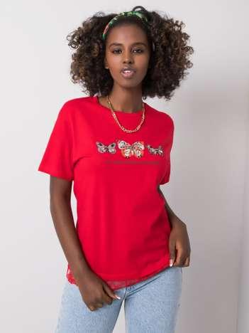 Czerwony t-shirt z bawełny Tess
