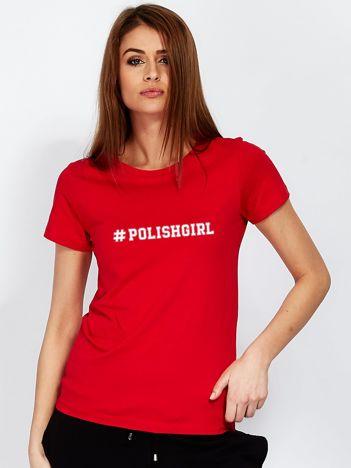 Czerwony t-shirt z hasztagiem #POLISHGIRL