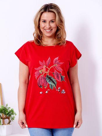 Czerwony t-shirt z poinsecją PLUS SIZE