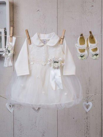 Czteroczęściowy elegancki komplet dziecięcy dla dziewczynki z sukienką ecru