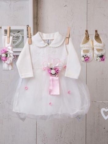 Czteroczęściowy elegancki komplet dziecięcy dla dziewczynki z sukienką ecru-różowy