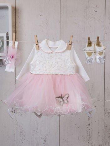 Czteroczęściowy wizytowy komplet dla dziewczynki z sukienką i bucikami różowo-ecru