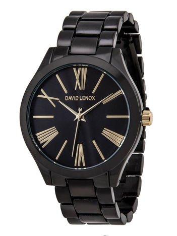 DAVID LENOX Zegarek damski czarny na bransolecie Eleganckie pudełko prezentowe w komplecie