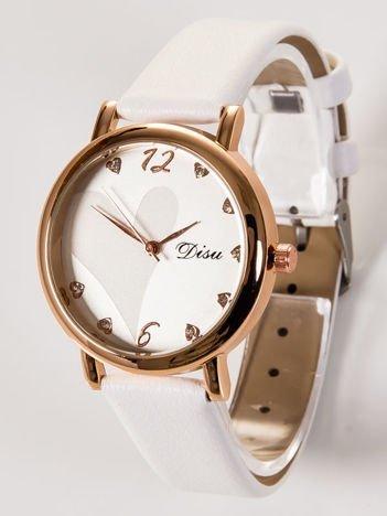 DISU LOVE Elegancki biały zegarek damski z sercami