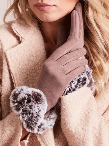 DOTYKOWE Wyjątkowo Ciepłe Beżowe Rękawiczki z Futerkiem