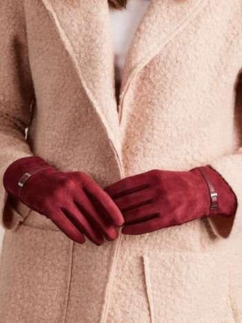 DOTYKOWE ZIMOWE Eleganckie Zamszowo-bawełniane rękawiczki damskie